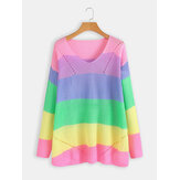 Long Sleeve V-neck Rainbow Stripe Color Block Sweaters