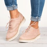 Women Plus Size Brogue Lace Up Soft Casual Oxford Loafers