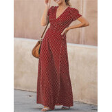 Polka Dot Robe Beach Holiday V-neck Maxi Dress