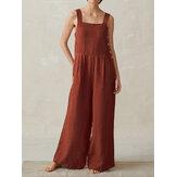 Geniş Bacaklı Kadın Pure Color Kolsuz Askı Tulum