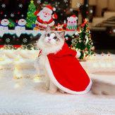 ملابس عيد الميلاد الحيوانات الأليفة الإبداعية عباءة مقنعين عيد الميلاد الكلب القط الأحمر اللون الملابس زي سانتا كلوز ملابس السنة الجديدة ل