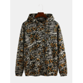 Men Animal Print Knitting Kangaroo Pocket Hooded Sweatshirt