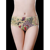 Plus Size Mid Waist Ice Silk Printed Seamless Comfy Briefs