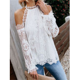 Women Off Shoulder Long Sleeve Lace Crochet Blouse