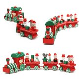 Cute Charming 4pcs Wood Christmas Xmas Train Ornament Decoration Gift Kids Toys
