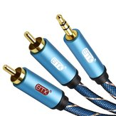Bakeey 2 Rca to 3.5mm Audio Cable Male Aux Cable Gold Plated for Amplifiers Speaker Home Theater
