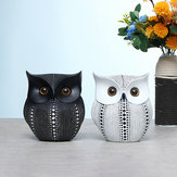 Nordic Style Minimalist Craft White Black Owls Animal Figurines Resin Miniatures Home Room Decorations