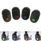 12V 30A 3-Pin SPST ON OFF Rocker Switch with LED Illuminated Light Green/Yellow/Blue/Red/White for Car Van Boat