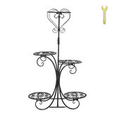 5 Tier Metal Plant Stand Flower Pot Holder Shelves Garden Home Indoor Outdoor Rotary Display Stand