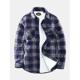 Mens Vintage Plaid Fleece warme verdickte Langarmjacke
