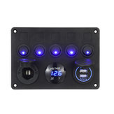 12/24V 5 Gang Blue LED Rocker Switch Panel Dual USB Car Boat Marine RV Truck ON-OFF