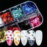 Nail Art sieraden 12 kleuren Laser Magic Color Butterfly Sequin