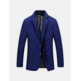 Mens Royal Blue Slim Fit Negócios Casual Lapel Collar Chest Pocket Coat Two Button Suit