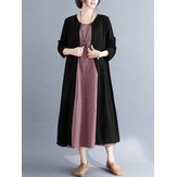 Women Casual Loose Crew Neck Patchwork Long Sleeve Dress