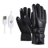 PU Leather Motorcycle Heated Gloves Electric Motorbike Winter Warm Riding Gloves Touch Stepless Temperature Regulating Switch