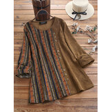 Corduroy Stripe Print Patchwork Long Sleeve Vintage Blouse
