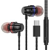 PTM M4 Type-C Wired In-Ear Headphones Metal Earphone Line Control With Mic for Huawei