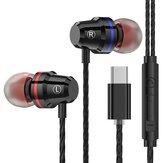 PTM M4 Type-C In-Ear com fio Fones de ouvido Controle de linha de fone de ouvido de metal com microfone para Huawei