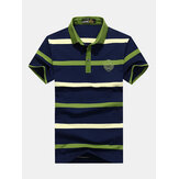 Mens Business Striped Printed Turn-down Collar Golf Shirt