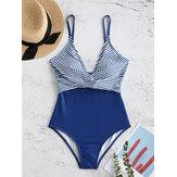 Mergulho V Neck Stripe Impresso Cross Criss cintura alta One-pieces Swimmwear