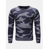 Mens Camouflage Pattern Rundhals Langarm Casual Sweater