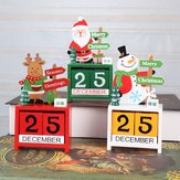 Christmas Advent Countdown Calendar Wooden Santa Claus Snowman Reindeer Pattern With Painted Blocks Holiday Home Decorations