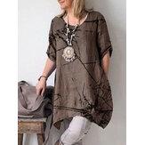 Düz Renk Kısa Kollu Pamuklu Günlük Gömlek Elbise