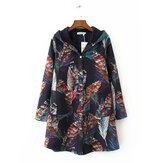 Vintage Printed Long Sleeve Pocket Hooded Coats for Women