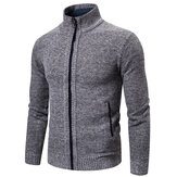 Mens Fashion Zipper Knitting Stand Collar Casual Jacket