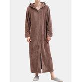 Männer Flanell Plain Thermal Warm Loose Mit Kapuze Pyjama