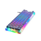 GamaKay K66 66 Tombol Keyboard Gaming Mekanik Tyce-C Kabel RGB Backlit Gateron Switch Keyboard dengan Dasar Kristal untuk PC Laptop