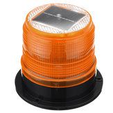 12V Round Roof Solar LED Magnetic Beacon Light Emergency Warning Strobe Yellow IP65 Waterproof