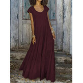 Pure Color Crew Neck Short Sleeve Maxi Dress