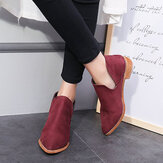 Women Comfy Solid Color Pointed Toe Chunky Heel Short Single Ankle Boots