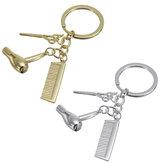 Creative Keychain Alloy Stylist Hair Dryer Scissor Comb Dangle Pendant Key Ring Artware Gift