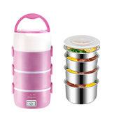 2.2L 4 Schichten Edelstahl Elektrische Lunchbox Mini Reiskocher Speisenwärmer