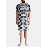 Men's Kaftan Pajamas Sleepwear Summer Short Sleeve Lounge T Shirts Night Dress
