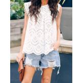 Sleeveless Summer Tank Tops Lace Detail Shirt