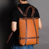 Men Women Large Capacity Faux Leather Business Bag Backpack