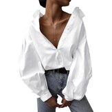 Chic Lantern Sleeve Solid Color Casual Blouse Shirts For Women