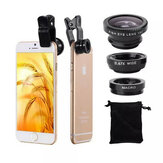 3 in 1 Universal Clip Camera Lens 0.67 Wide Angle+180 Degree Fish Eye+Macro Lens for Mobile Phones Tablet