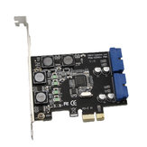 SSU N014S+PW4 PCI - E to USB 3.0 Expansion Card with Front - Facing 19 / 20 Pin Interface for Desktop Computer