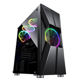 Coolmoon M-ATX ITX SPCC Computer Gaming Case USB3.0 Computer Case Side Penetration Design Desktop Chassis ATX Power Supply