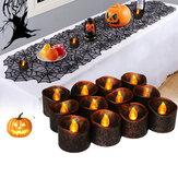 12pcs Batterie exploité décoration de fête d'halloween scintillement électronique LED bougie