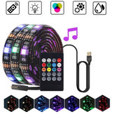 0.5M 1M 2M 3M Waterproof 5050 Music RGB USB LED Strip Light + IR Remote Control for KTV Hotel Bar TV Background