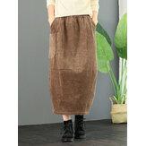 Cintura elástica de veludo cotelê solta sólida saias vintage