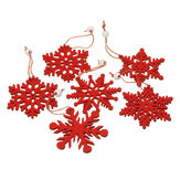 6pcs Christmas Natural Wood Chip Ornament Xmas Tree Snowflake Hanging Decor Decorations