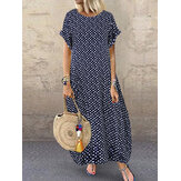 Summer Polka Dot Print Short Sleeve Plus Size Dress