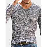 Men's Casual Slim Fit Long-Sleeved V-Neck T-shirts