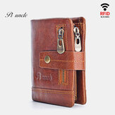 Men Genuine Leather RFID Antimagnetic Wallet Zipper Coin